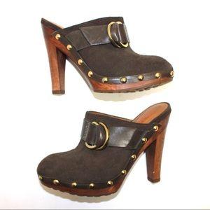 KORS Michael Kors Shoes - Michael Kors Chocolate Suede Gold Studded Clogs
